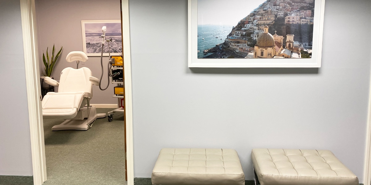 lobby seating and exam room