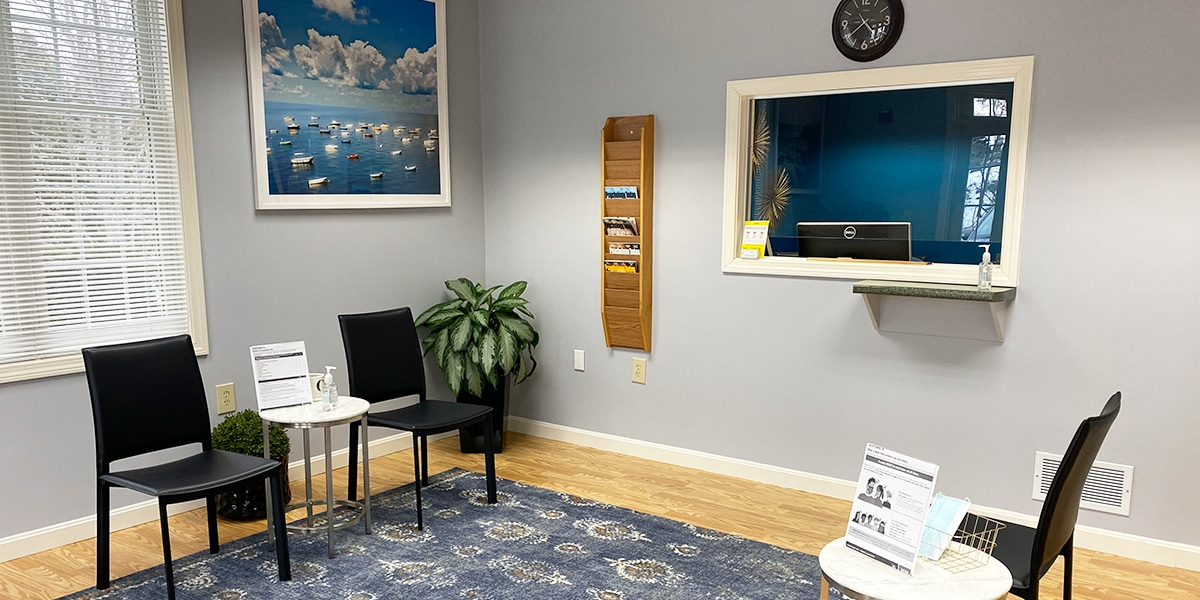 office reception area with black chairs